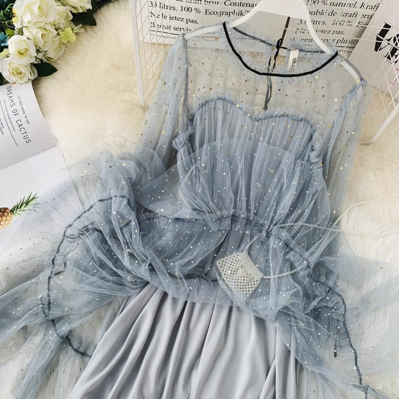 HISUMA spring autumn new women Star sequins gauze flare sleeve lace-up Princess dress female elegant o-neck mesh puff dresses 46
