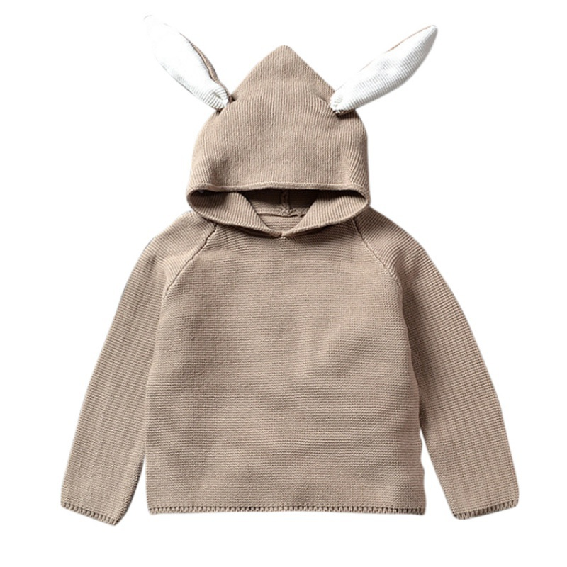 2017 Autumn Baby Sweaters Rabbit Cotton Pullover Kids Knitted Sweater Hooded pullover