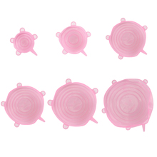 Universal Silicone Stretch Lids Lid 6PCS Easy Vacuum Seal Stretch Sealer Bowl Pan Pot Caps Cover Kitchen Cookware Accessories