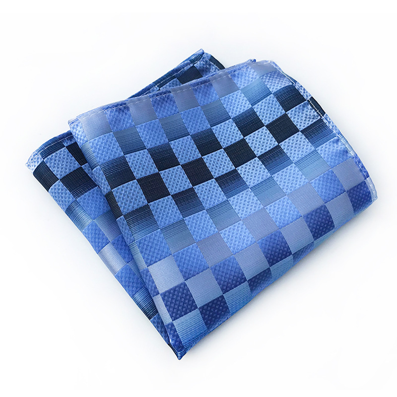 New 20 Colors Men's Hanky Checks Plaid Striped Silk Suits Pocket Square Wedding Party Handkerchief Clothing Accessories Scarf