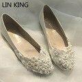 LIN REY Primavera y el Otoño de La Manera Cordón de La Perla Plana Zapatos de Boda Hechos A Mano Zapatos de Novia Zapatos de Dama Zapatos de Los Planos de Tamaño 35-40