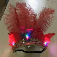 LED Glow Light Blinking Feativel Hairband Female Feather Headband Hair Accessories Headdress Party Hair Head Decoration Crown