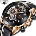 LIGE, мужские часы, Топ бренд, Роскошные Кварцевые Золотые часы, мужские повседневные кожаные военные водонепроницаемые спортивные наручные ...