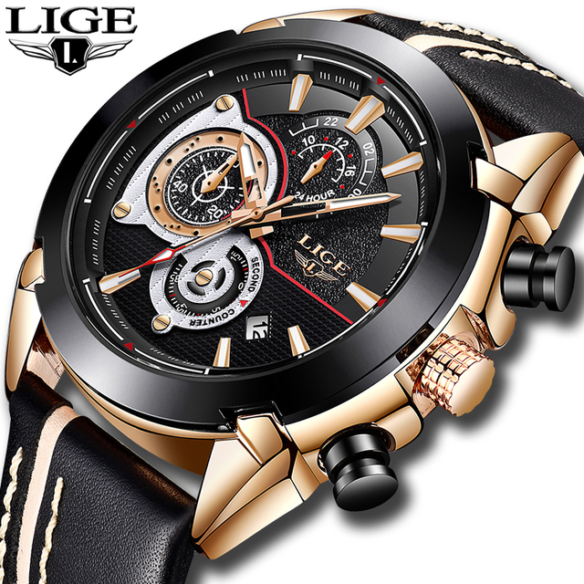 2bc970db29b LIGE Mens Watches Top Brand Luxury Quartz Gold Watch Men Casual Leather  Military Waterproof Sport Wrist