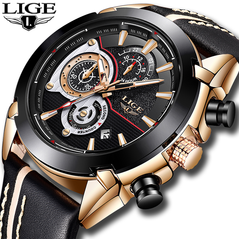 LIGE Mens Watches Top Brand Luxury Quartz Gold Watch Men Casual Leather Military Waterproof Sport Wrist Watch Relogio Masculino