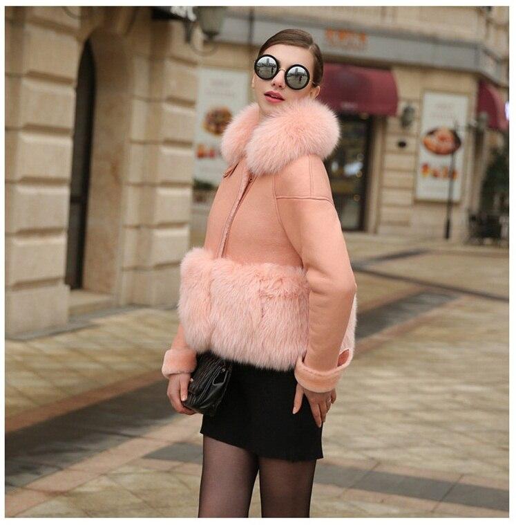 1068cecc5ab Uwback 2017 Brand Spring Faux Fur Coat Women Winter Short Windbreaker Jacket  Femme Pink Leather Fox Fur Coat Plus Size OB314-in Faux Fur from Women s ...