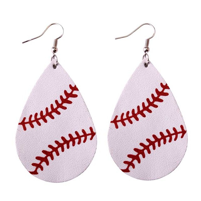 ZWPON 2018 Personalized Baseball Leather Earrings Women Sports Neon Green Softball Earrings Teardrop Earrings Fashion Jewelry