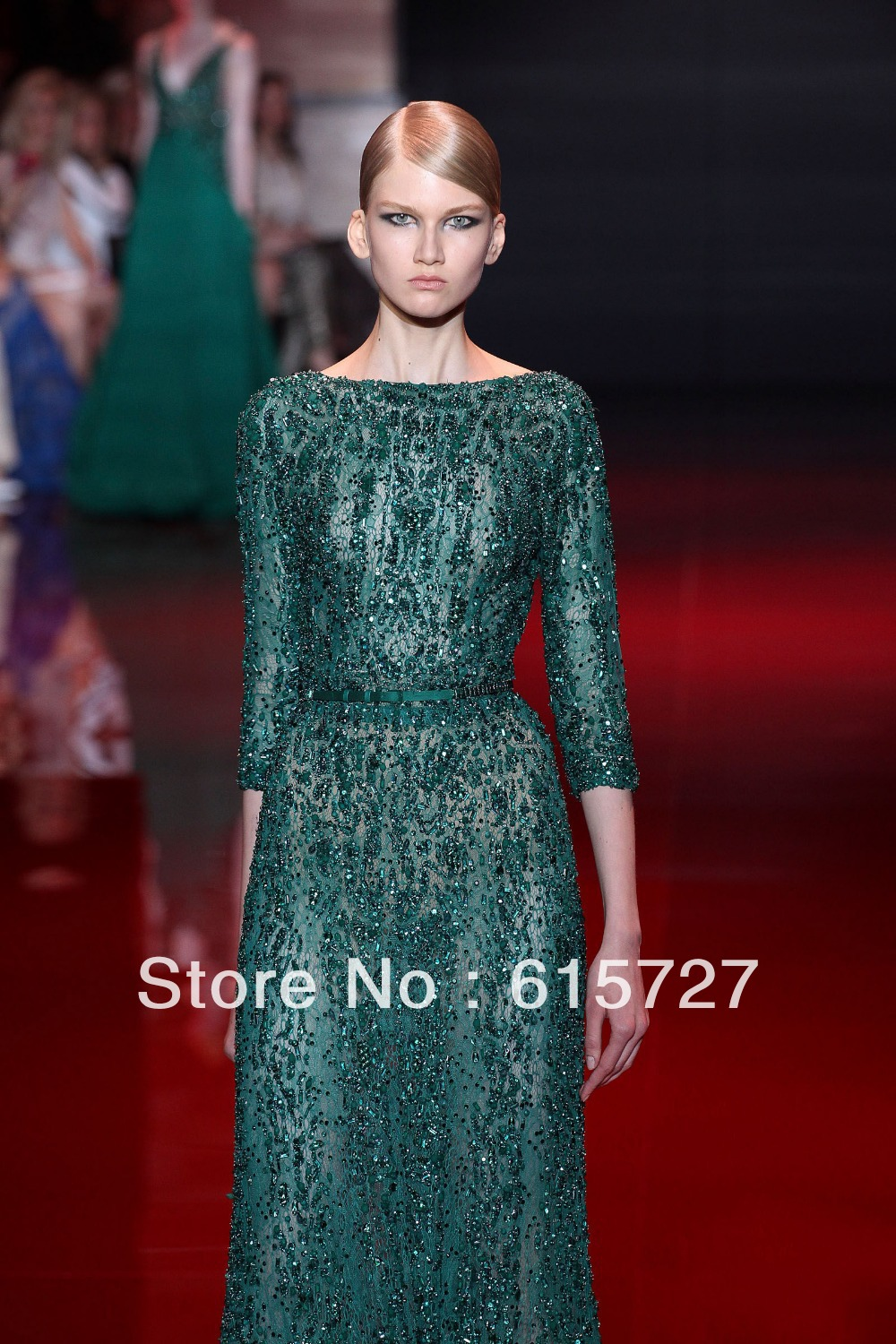 2014 New Year Eve Elie Saab Special Lace Beaded Three Quarter Sleeve ...
