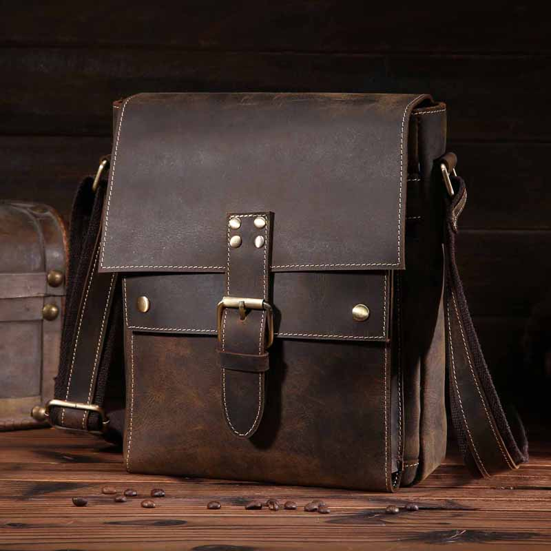 YISHEN Genuine Leather Men Messenger Bags Vintage Casual Male Shoulder Bag Business Cowhide Leather Men Crossbody Bags 8571
