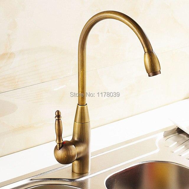 Us 47 02 12 Off Deck Mounted Antique Bronze Kitchen Faucet European Style Retro Brass Kitchen Sink Faucet Vintage Copper Kitchen Mixer J17058 In