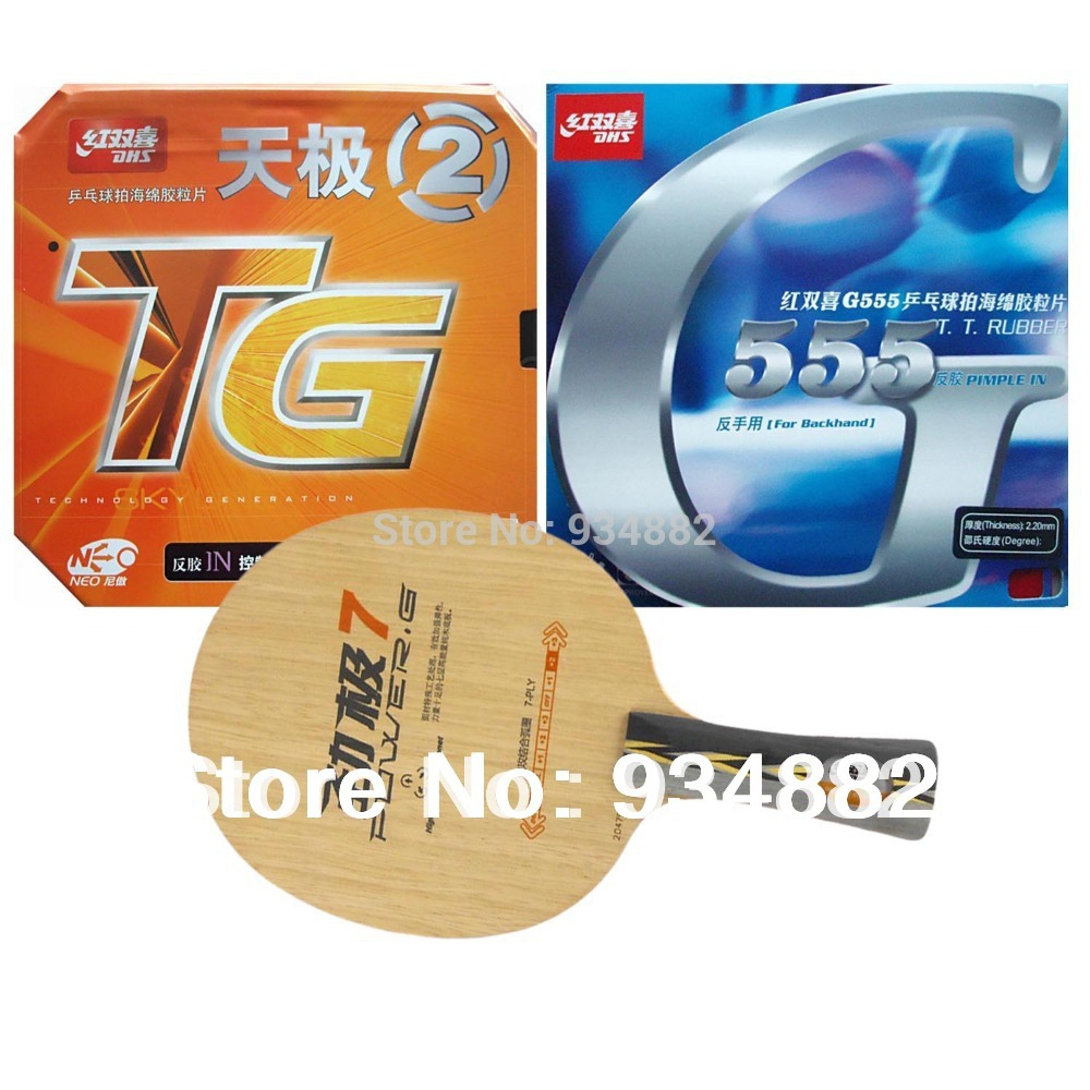 Pro Table Tennis Ping Pong Combo Paddle Racket: DHS POWER.G7 PG7 PG.7 PG 7 + NEO Skyline TG2 and G555 Shakehand long handle FL dhs 4002 4006 ping pong paddle table tennis racket