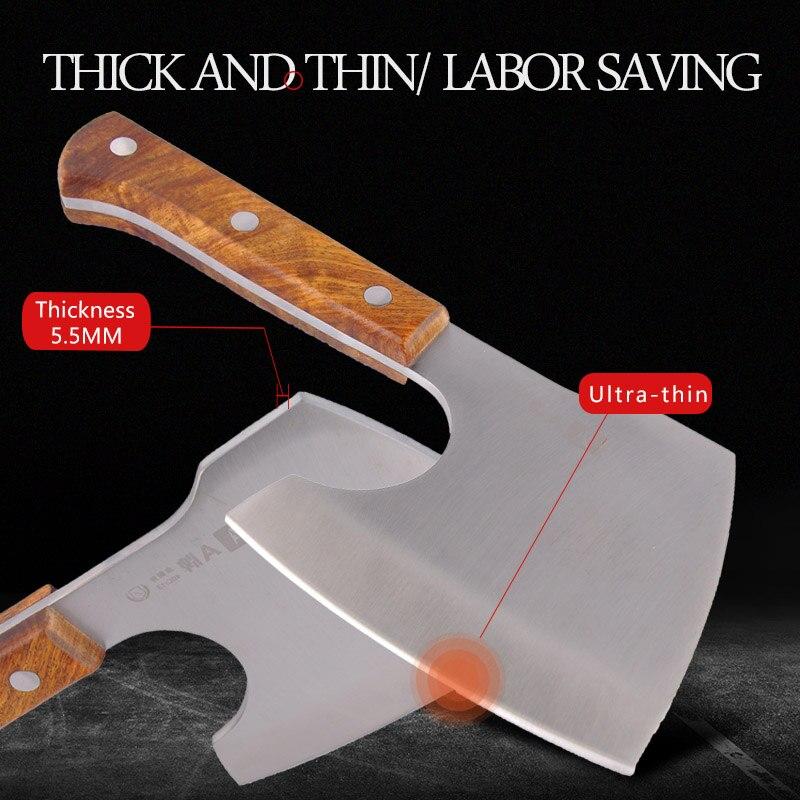 Фирменный нож для мясника 40Cr13 из нержавеющей стали, разделочный нож для Кливера, инструмент для приготовления пищи, отличная Подарочная коробка, кухонный нож с деревянной ручкой Ax - 3