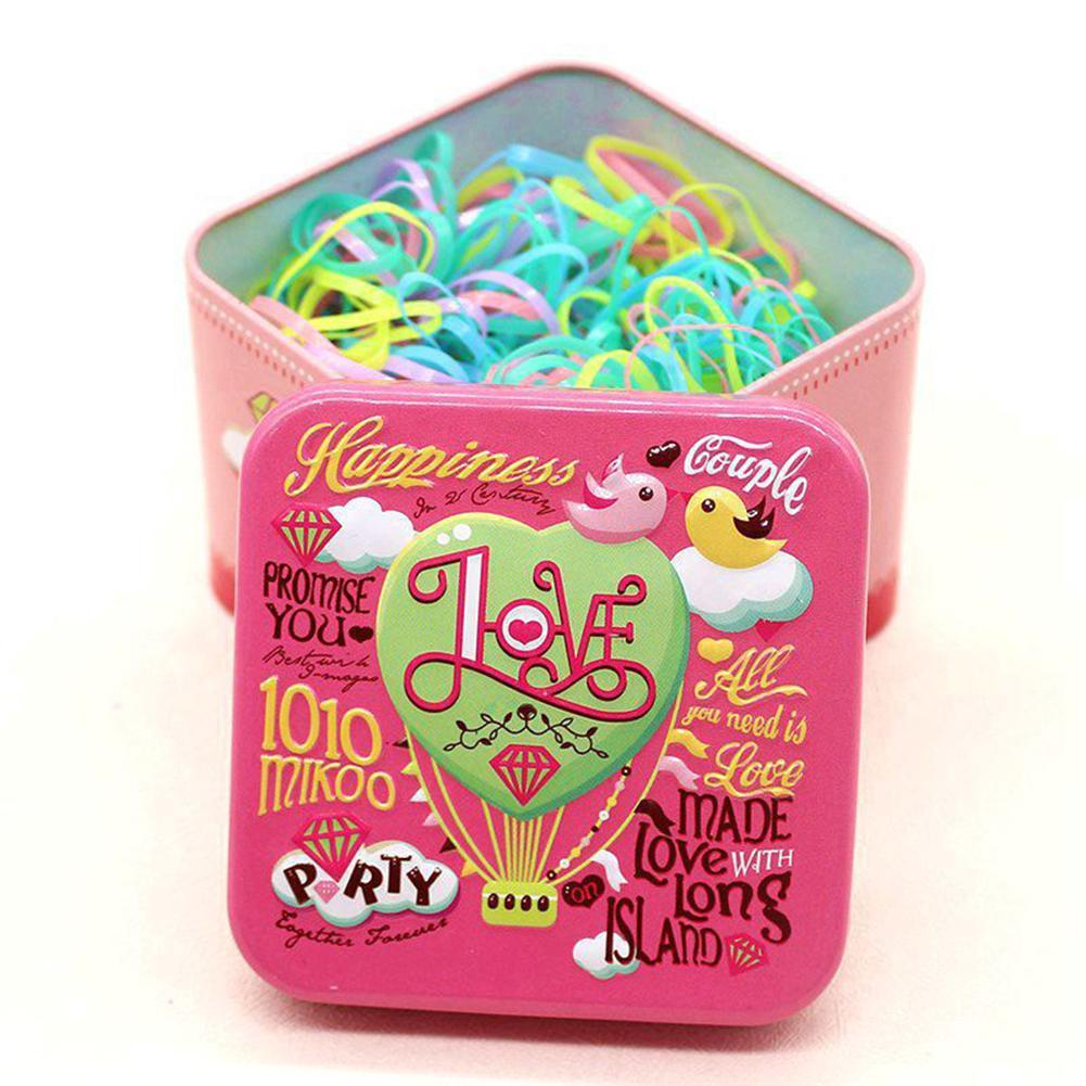 Xiufen дети конфеты Цвет одноразовые волос-окантовкой резинкой для волос кольцо с изысканным мультфильм коробка для хранения