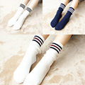 OtherLinks $9/3pcs Women Fashion Retro Soft Socks Pack Vintage Stockin Cotton Cozy Soft Soks: Navy Stripes, Black Stripes, Navy