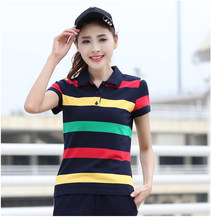 Baharcelin 6XL Striped Polos Shirt Tops Tees women Gril Turn-down Collar Short Sleeve Cotton Tops Casual Tops Big Size(China)