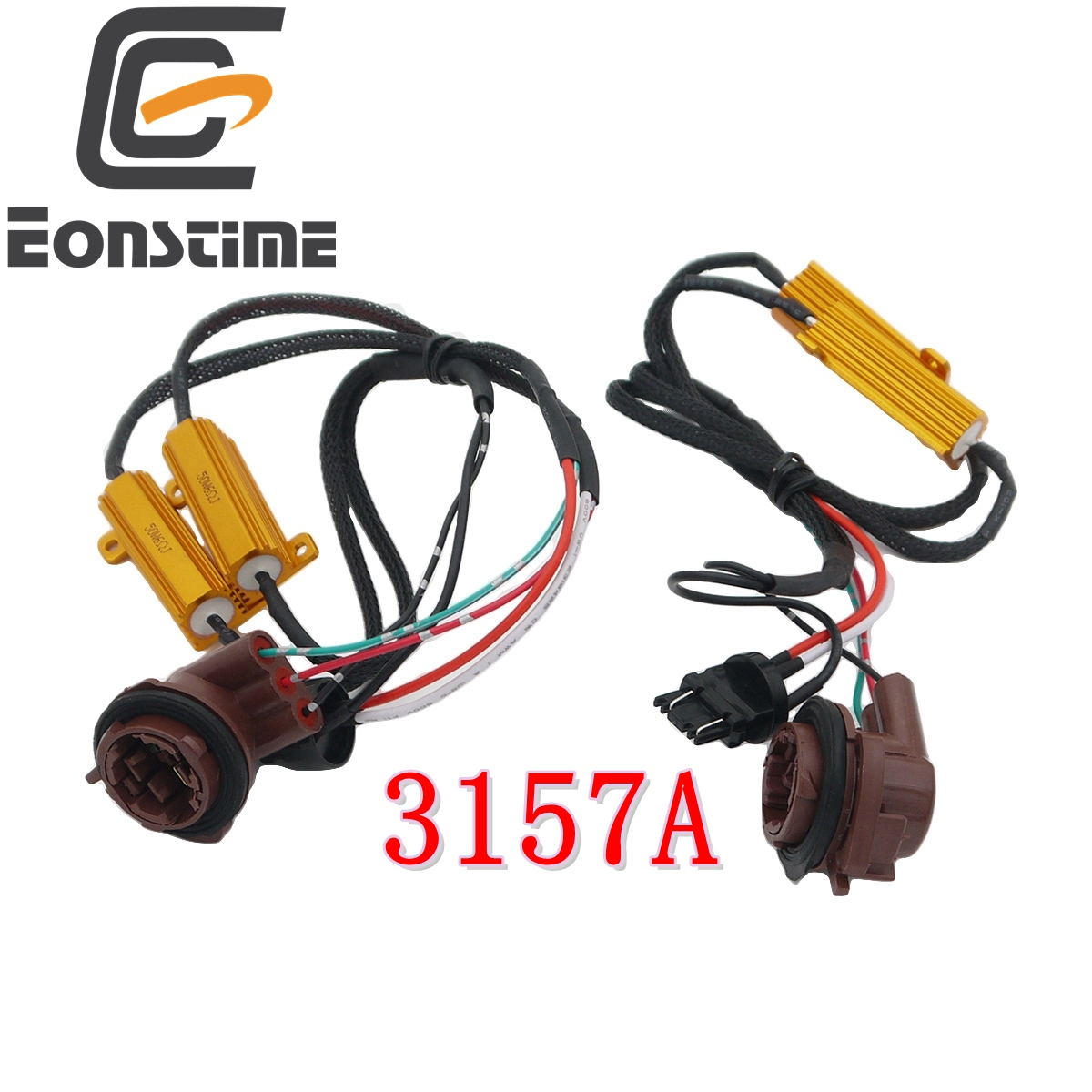 Eonstime 2pcs 3157 4157 Pre-wired Load Resistor Fix Hyper Flash For LED Turn Signal Light Canbus Error Free Canceller Decoder