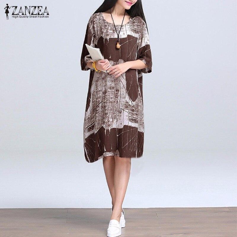 Vestidos 2018 Summer ZANZEA Women Vintage Print Cotton Linen Dress Casual Loose O Neck Half Sleeve Knee Length Dresses Plus Size