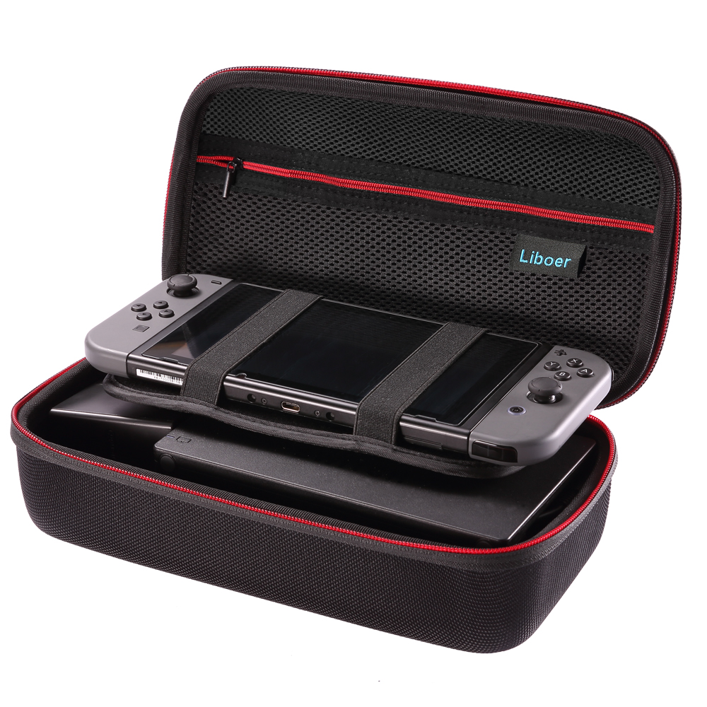 sale retailer 8c663 d01f8 US $17.5 30% OFF|Hard Storage Carrying Case Portable Travel Bag with Handle  for Nintendo Switch Console JoyCon Controller AC Adapter Charger BN30-in ...