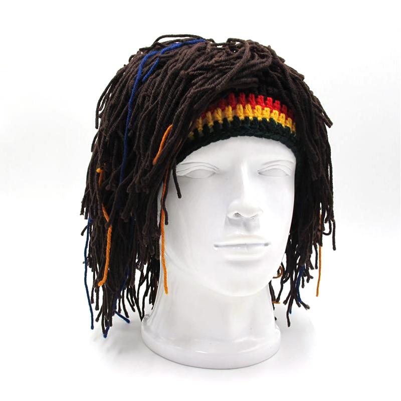 Hecho a mano barba peluca Rasta invierno Beanie sombrero de ...