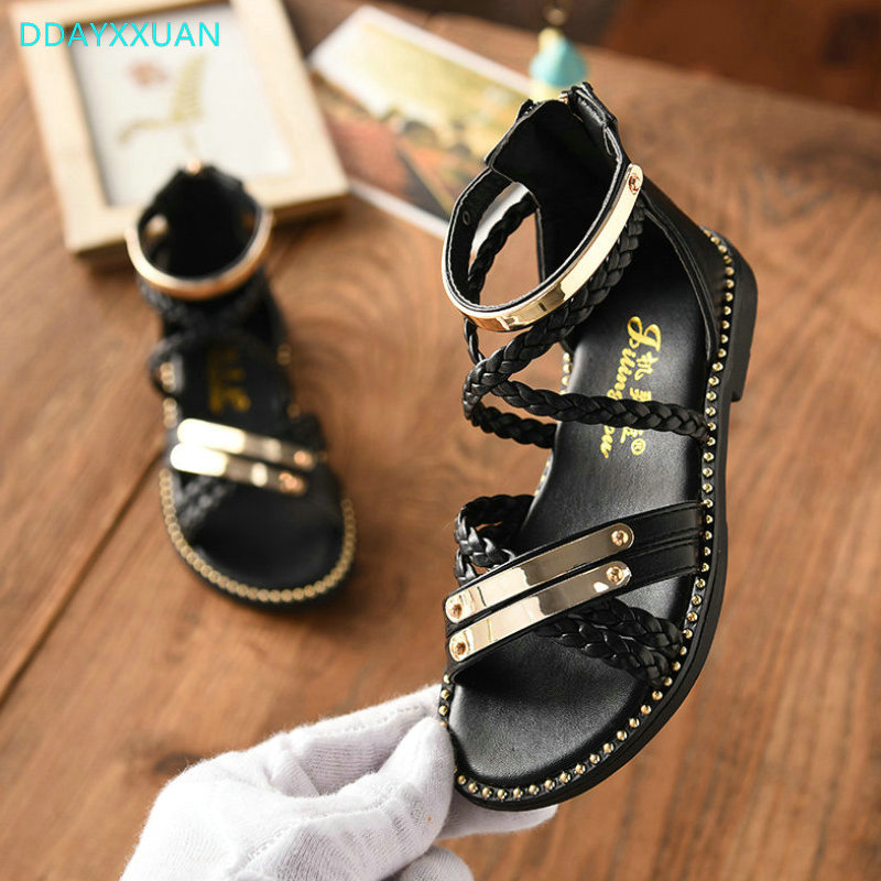 Girls Princess Shoes 2018 New Summer Metal Children Sandals Flat Kids Girls Soft Shoes G ...