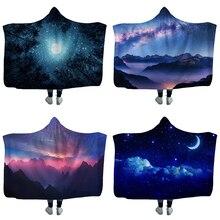 السماء المرصعة بالنجوم المطبوعة مقنعين بطانية أدوات تخييم للسفر الطائرات الباردة واقية بطانية أريكة سرير عباءة غطاء بطانية