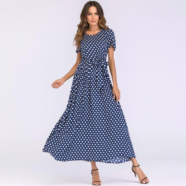 US $17.12 |Versear Plus Size Maxi Dress in the Floor Ladies Lace Up Polka  Dot Dress Women Summer Dress 2019 Boho Beach Sundress Vestidos-in Dresses  ...