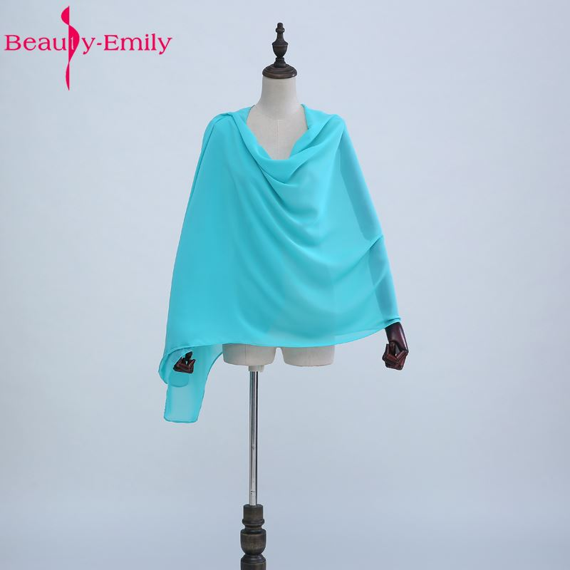 Beauty-Emily Colorful Chiffon Wedding Jacket Wraps Bolero Women Cap Wrap Shrug For Evening Dresses 2017Llength 195cm 70cm width ...