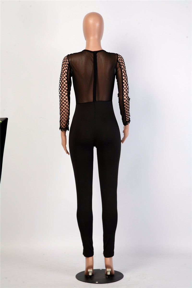 women sexy hollow out mesh jumpsuit -5