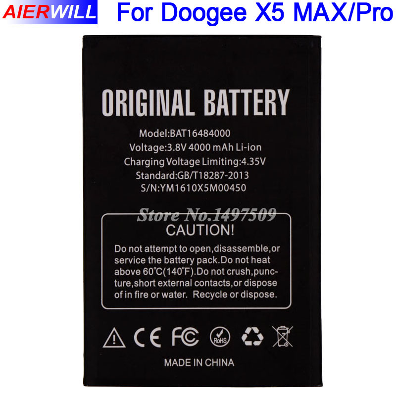 For DOOGEE X5 MAX Battery for DOOGEE X5 MAX Pro Bateria Accumulator AKKU 4000mAh