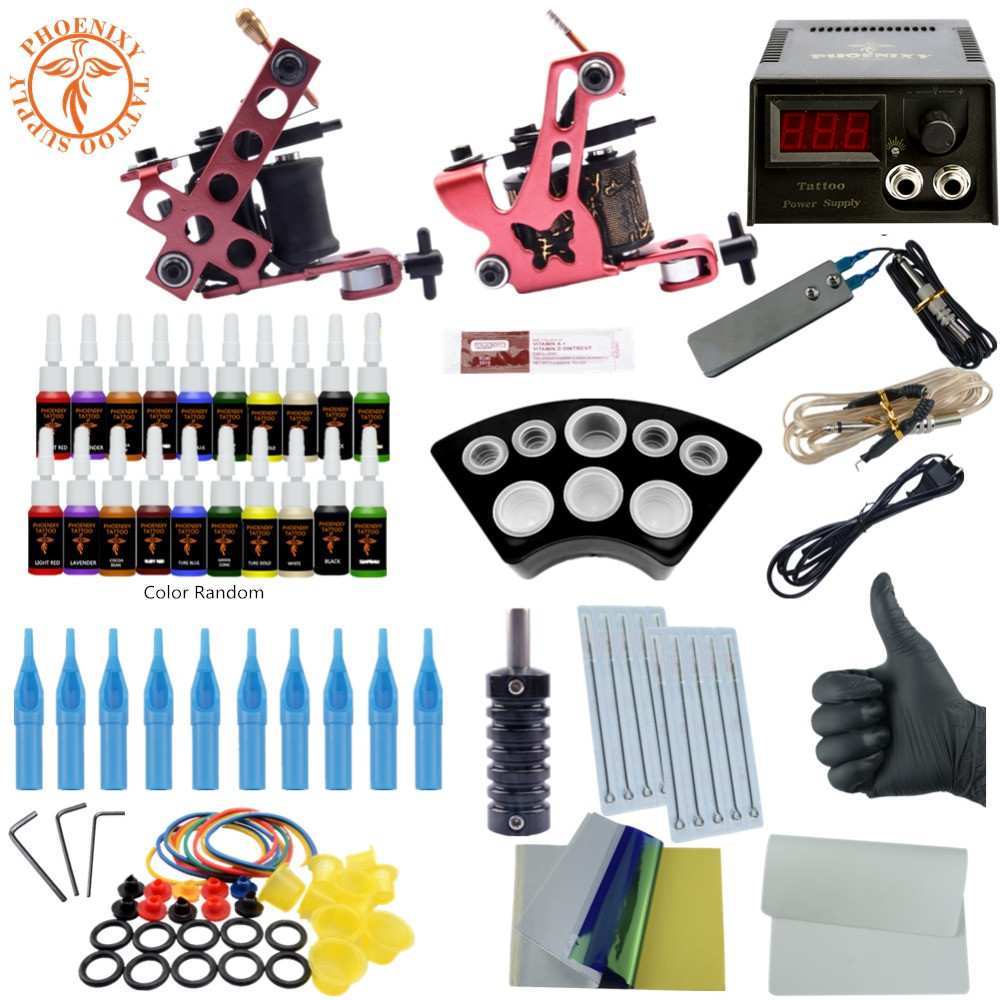 Completed Tattoo Kit Equipment Tattoo Machine Gun Set 20 color Power Supply Gun Color Ink Set Tattoo Beginners Body Art Tools new tattoo machines gun equipment power supply 20 color ink cup tattoo set brand new