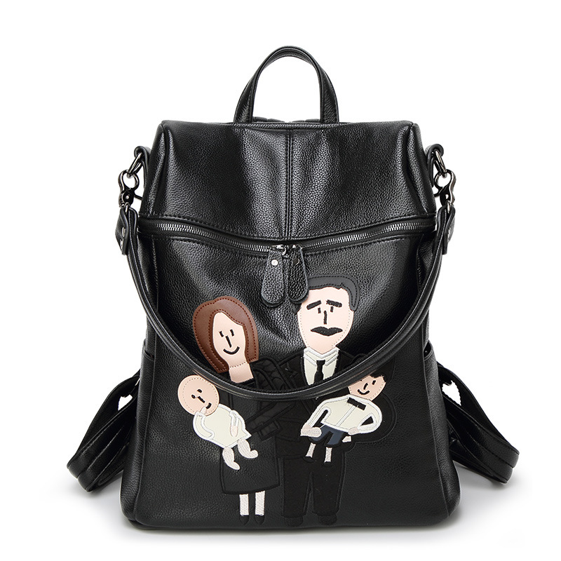 100 Genuine leather Women Backpack Cartoon characters Mafia Genuine leather In A Family Female Shoulders Backpack