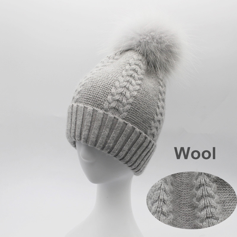Women Wool Blend Skullies Beanies Hats 15CM Raccoon Fur Pom Pom Lady Winter Genuine Fur Caps Headgear VF4016 skullies