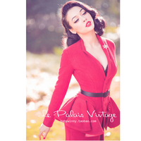 FREE SHIPPING Le Palais Vintage Retro Red removable flounce 100% wool woolen slim coat/over coat