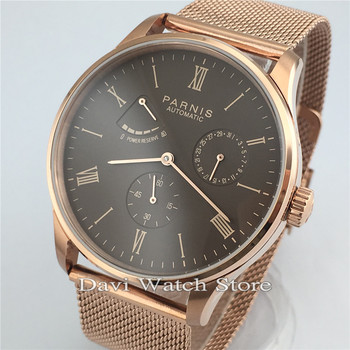 Parnis 42mm Miyota Automatic Mechanical Movement Silver Case Band Mens Watch