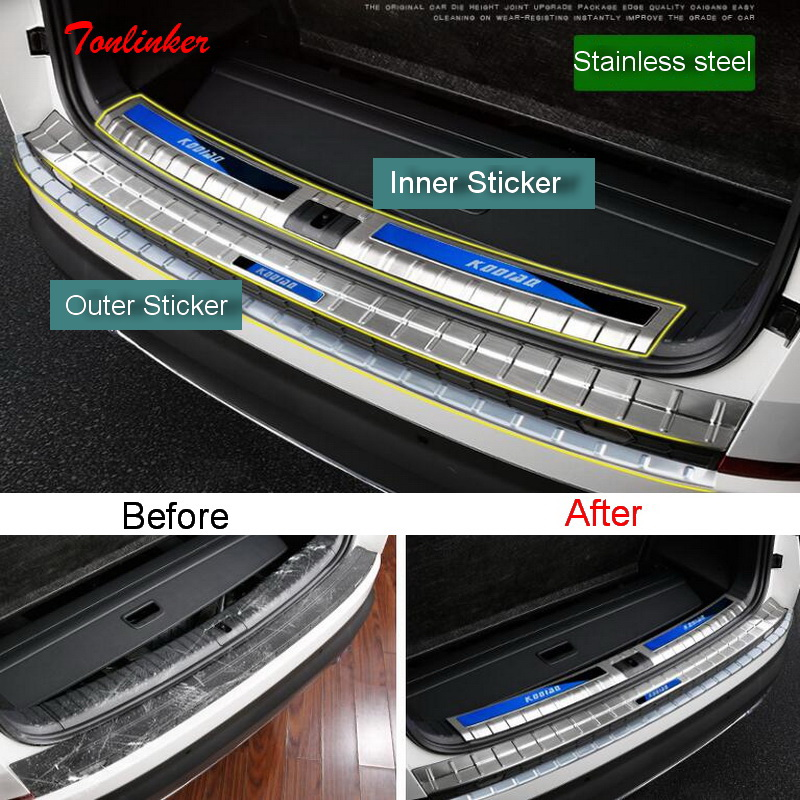 Tonlinker Cover Stickers for SKODA KODIAQ 2017-18 Car Styling 1 PCS Stainless steel Tailgate guard Protection Cover stickers bjmycyy 2 pcs car styling stainless steel small speaker circle patch stickers cover casw for chevrolet trax 2014 accessories