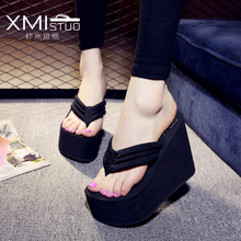 XMISTUO 12 ซม.ลาดหนาเปลือกมัฟฟินกันน้ำและรองเท้าแตะหญิงสูงแบบพลิก Flops