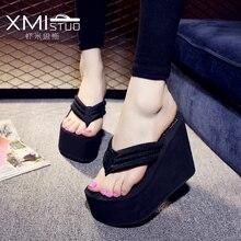 Xmistuo aumentou a inclinação de 12cm com sandálias impermeáveis de muffin de crosta grossa e chinelos de deslizamento feminino alto com os chinelos simples