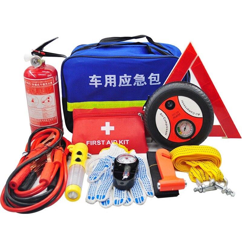 Extincteur de voiture trousse de premiers soins multifonction Pack d'urgence accessoires de voiture organisateur outils de sauvetage coffre de voiture organisateur