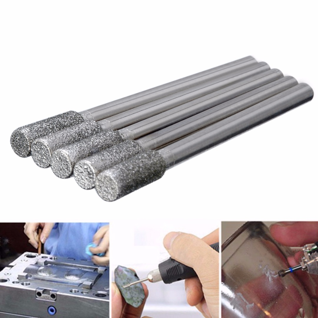 5pcs/lot Durable Diamond Grinding Burr Drill Bits 4mm Grinding Diameter For Rotary Tool Pneumatic Engraving Pen Electric Grinder