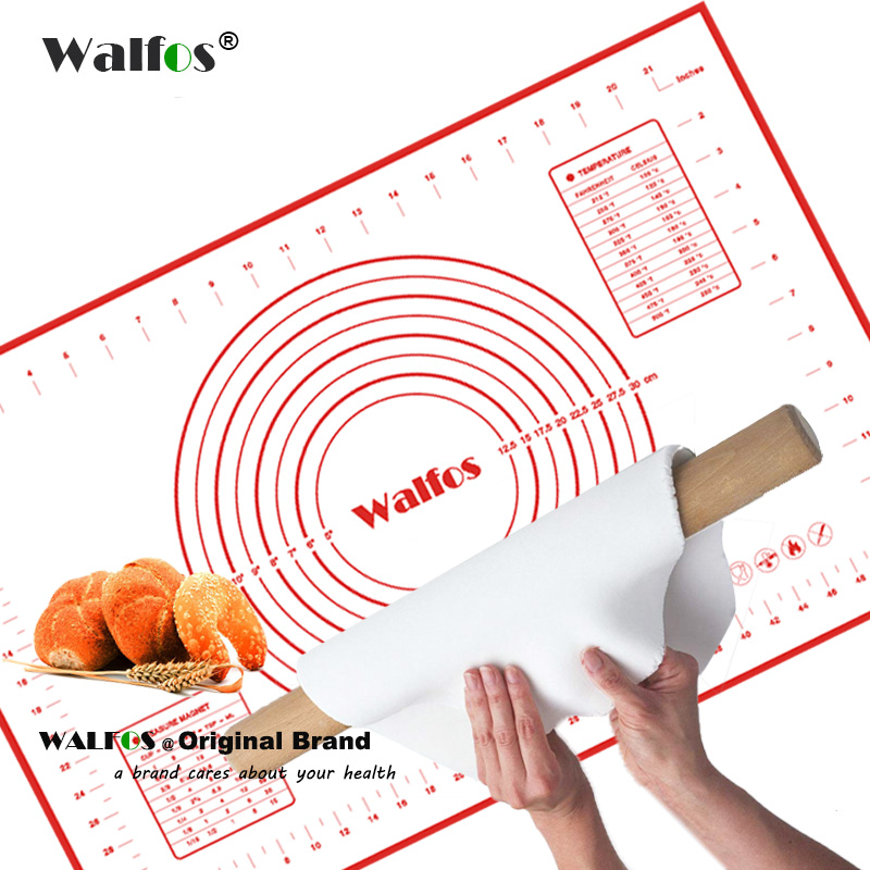 walfos 40 60cm large size of silicone baking mat attach scale kneading dough mat non stick. Black Bedroom Furniture Sets. Home Design Ideas