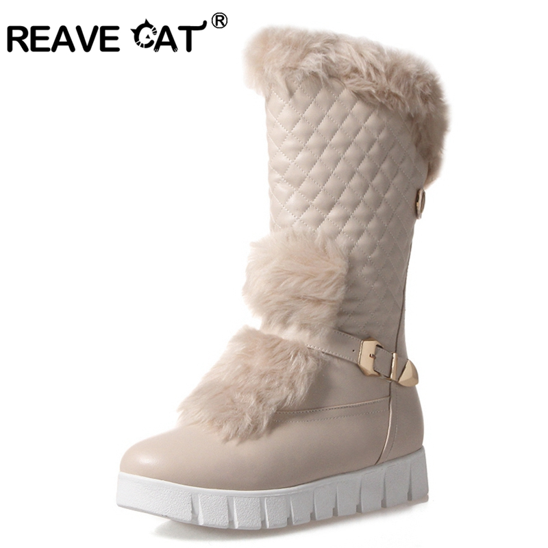 REAVE CAT mid calf boots female round toe med heels platform women boots high quality pu leather thick winter snow boots A1002 lukuco pure color women mid calf snow boots with faux fur design high quality pu made med wedges heel shoes