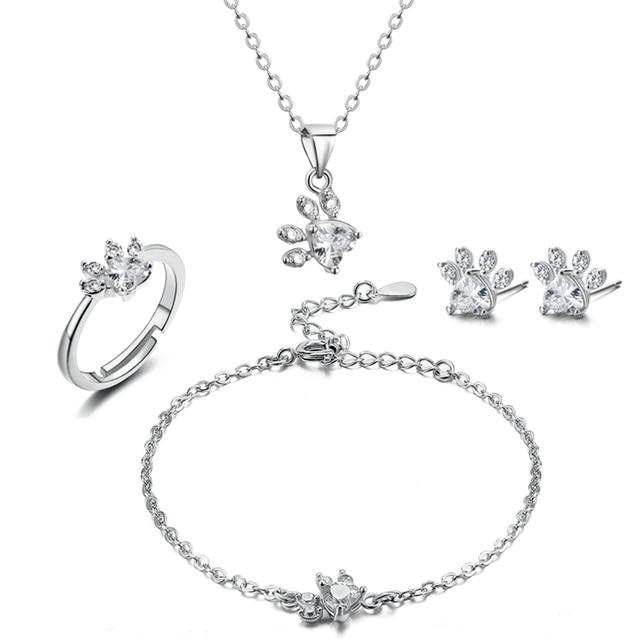 4 PCS Cat Paw Jewelry Set 1