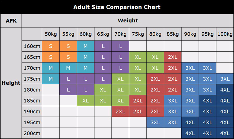 shirt size by height and weight