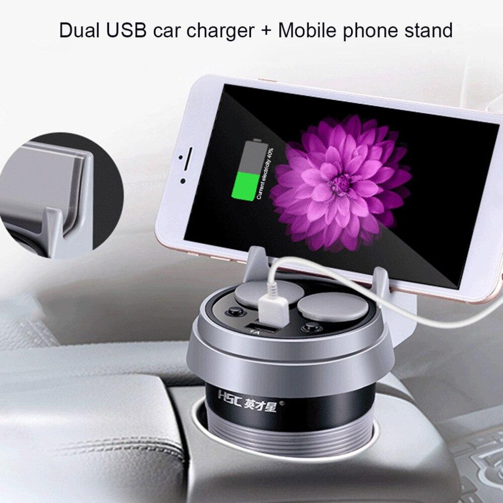 HSC Multifonctionnel Tasse Double USB Chargeur De Voiture D'affichage De Voiture Chargeur 12-24 V Allume-cigare Splitter Avec Affichage de la Tension chaude