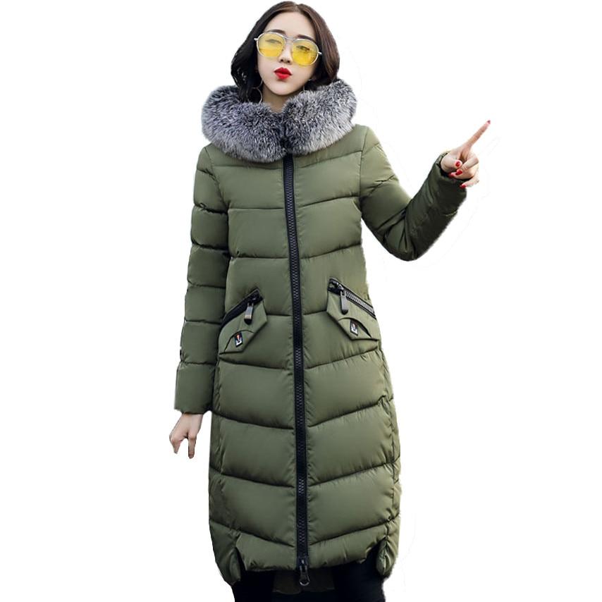 2017 Winter Women Hooded Coat Fur Collar Thicken Warm Long Jacket women s coat girls long