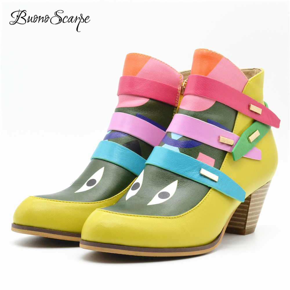 BuonoScarpe 2018 New Arrival Fashion Eye Ankle Boots Zipper Short Winter Female Boots Chunky High Heel Strap Botas Mujer Shoes