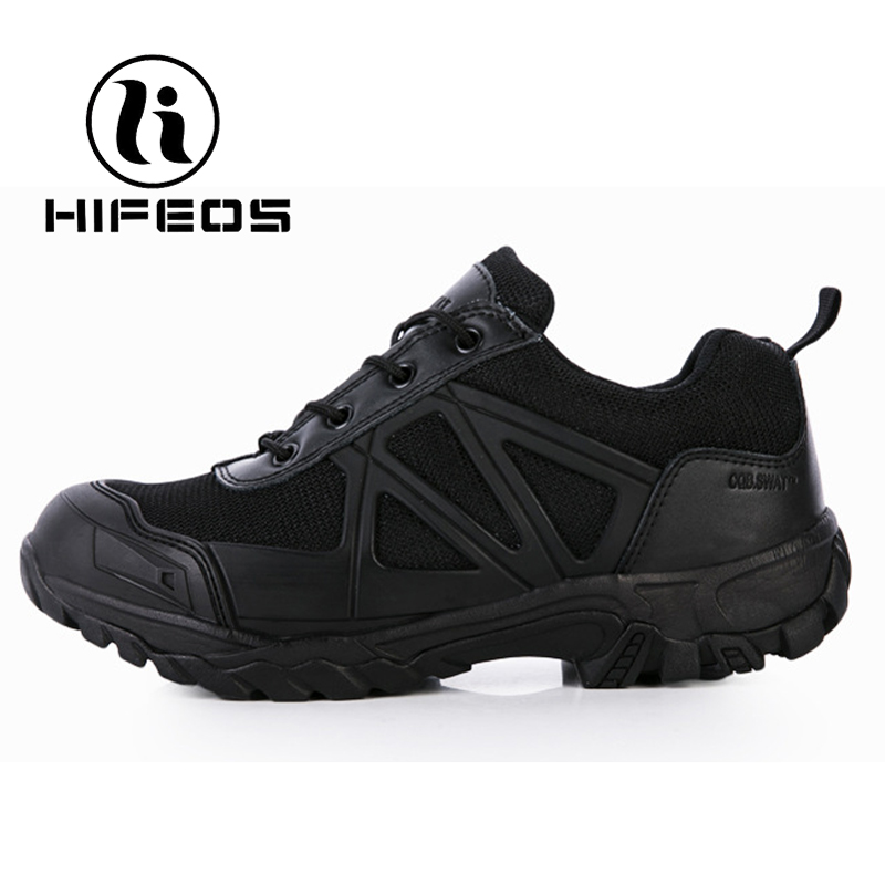 купить HIFEOS hiking shoes low-top outdoor tactical sneakers combat boots men non-slip breathable trekking shock deodorant climing M086 недорого