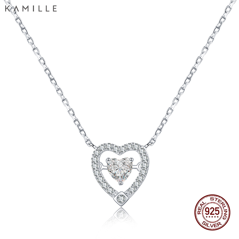 Kamille 925 Sterling Silver Necklace Romantic Coronary heart Pendant Necklaces Positive Jewellery For Ladies Birthday Valentine's Day Reward Necklaces, Low-cost Necklaces, Kamille 925 Sterling Silver Necklace Romantic Coronary heart...