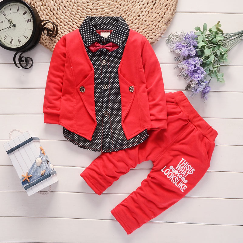 Baby Boy Outfit 2017 Spring New British Style False Two Piece Set Leisure Shirt + Pants 2PCS Tracksuits Kids Bebes Jogging Suits