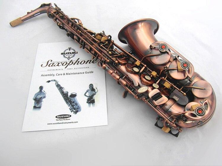 SUZUKI Professionnel E Flat Saxophone Alto de Haute Qualité En Laiton Antique Cuivre Performance Instrument de musique Avec Embout